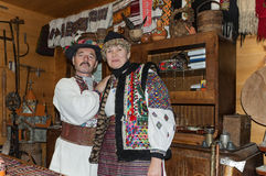 Man and woman in Ukrainian Hutsul costumes Stock Images