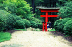Man, Woman under gate, blur, cross process Royalty Free Stock Photography