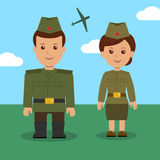 Man and woman in uniform of the Russian military. Characters military for background on 23 February Royalty Free Stock Photography