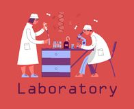 A man and a woman in uniform are working in a laboratory. Chemical and Biological Laboratory. royalty free illustration