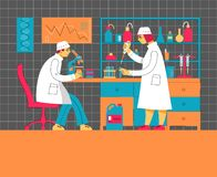A man and a woman in uniform are working in a laboratory. Chemical and Biological Laboratory. vector illustration