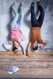 Man and woman upside down Royalty Free Stock Photography