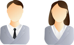 Man and woman user icon. Two user icons - business man and woman Stock Photo