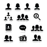Man woman user  icons set. Modern simple black icons set - businessman, businesswoman, workers Stock Images