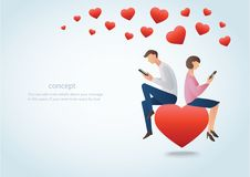 Man and woman using smartphone and sitting on the red heart with many hearts, concept of love online Stock Photo
