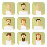 Man and woman vector avatar set in modern flat style. Royalty Free Stock Photo