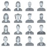 Man and woman vector face portrait silhouettes. Male and female heads vector illustration