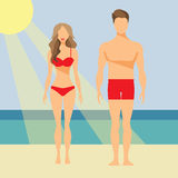 Man and Woman Vector Flat Illustration Royalty Free Stock Photos