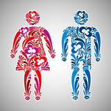 Man and woman vector icons Stock Images