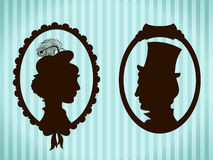 Man and woman vintage silhouettes stock photography