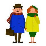 Man and woman walk hand in hand. stock illustration