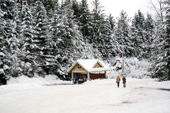Man and woman walk in a winter snow scene Stock Images