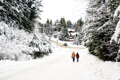 Man and woman walk in a winter snow scene stock photos