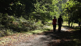 Man and woman walking outdoors on sunny day stock footage