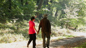 Man and woman walking outdoors on sunny day stock video footage