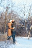 Man and woman walking in the park. Love story men and women walking in the park Stock Image