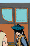 Man and woman walking past empty carriage. Man and woman walking past empty 18th century style carriage Royalty Free Illustration