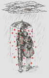 Man and woman walking in the rain Royalty Free Stock Images