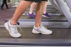 Man and woman walking on treadmills Stock Image