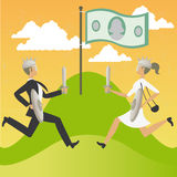 Man and woman in war by money Royalty Free Stock Photo