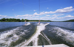 A man and woman water-skiing Stock Photo