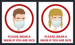 Man and woman wear medical mask. Hygiene mask. Virus protection. Royalty Free Stock Photography