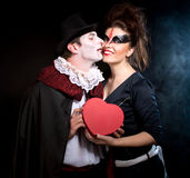 Man and woman  wearing  as  vampire and witch. Halloween. Young men and women  wearing  as  vampire and witch. Halloween Royalty Free Stock Photography