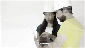 Man and woman wearing construction hard hats use laptop. Conceptual lowpoly illustration made from photo royalty free stock photo