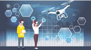Man And Woman Wearing 3d Virtual Reality Glasses With Modern Drone. Flat Vector Illustration Royalty Free Stock Image