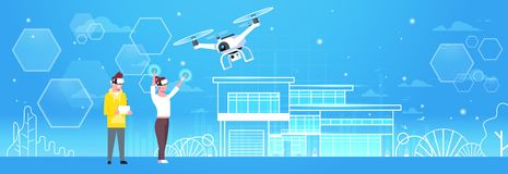 Man And Woman Wearing 3d Virtual Reality Glasses With Modern Drone Quadrocopter Horizontal Banner. Flat Vector Illustration Royalty Free Stock Images