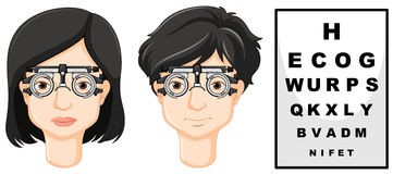Man and woman wearing test glasses vector illustration