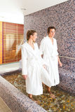 Man and woman while wellness water treading. Man and women while wellness water treading or hydrotherapy Stock Photo