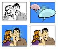 Man and woman whisper pop art comic retro style vector illustration in black and white and colorful versions with speech. Bubbles on halftone background Vector Illustration