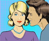 Man and woman whisper pop art vector illustration Royalty Free Stock Images