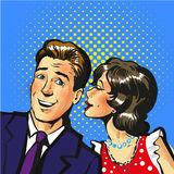 Man and woman whisper pop art vector illustration. Stock Royalty Free Stock Photo