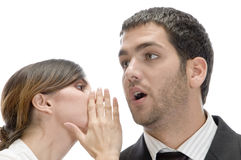 Man and woman whispering sweet secrets Stock Photo