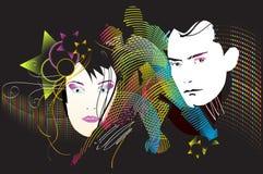 Man and woman, who love disco Stock Photos