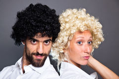 Man and Woman with Wig Royalty Free Stock Photo
