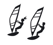 Man and woman windsurfing silhouettes. Graphic Stock Photo