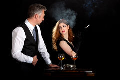 Man woman wine smoking Royalty Free Stock Images