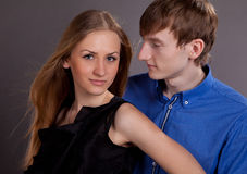 Man and woman. Man and women in photo studio Royalty Free Stock Image