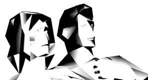 Man and Woman woodcut profile Royalty Free Stock Photo