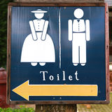 Man and woman wooden toilet sign. A man and woman wooden toilet sign Royalty Free Stock Photos