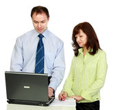 A man and woman work. Royalty Free Stock Images