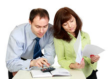 A man and woman work. Stock Image