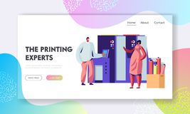 Man and Woman Work in Printing House or Advertising Agency Chatting near Typography Equipment. Designer Produce Press Material. Website Landing Page, Web Page stock illustration
