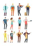 Man and woman workers with tools in uniform. Cartoon vector characters of different professions isolated. Ilustration of musician and cook, specialist teacher Royalty Free Stock Photography