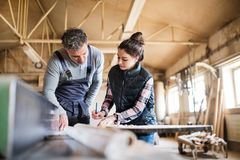 Man and woman workers working in the carpentry workshop. Portrait of a men and women workers in the carpentry workshop, working royalty free stock photos