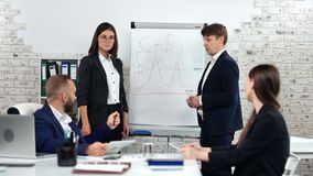 Man and woman working as team brainstorming presentation project profit strategy on white board