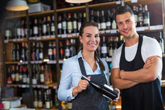 Man and woman working at cafe Stock Photography